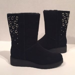 UGG Madison Black Sheepwool Wedge Suede Boots